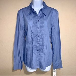 Rafaella pleated front French Blue blouse size 14